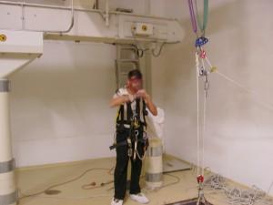 Primeras pruebas con el equipo de respiración autónoma.